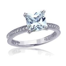 Women 8mm 14K White Gold 1.25 ct Princess CZ Solitaire Wedding Engagement Ring