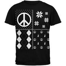 Peace Sign Festive Blocks Ugly Christmas Sweater Black Adult T-Shirt