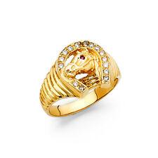 14K Solid Gold Brilliant Cubic Zirconia 15mm Men's Ring