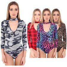 New Women's Cut Out High Choker Keyhole V Neck Stretch Printed Leotard Bodysuits