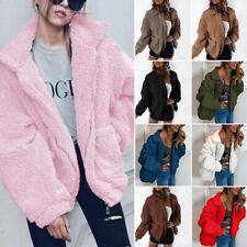 US Womens Warm Teddy Bear Pocket Fluffy Fleece Fur Jacket Coat Oversized Outwear