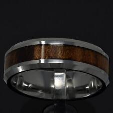 8mm Tungsten Brown Wood Inlay Bevel Edge Men's Jewelry Wedding Ring Band