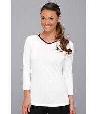 Women's White ADIDAS TENNIS RUNNING Athletic SHIRT $45 ClimaLite 3/4 Sleeve top