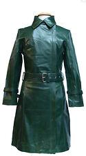 UNICORN 3 trimestre longueur manteau en cuir véritable de la femme : vert #J2