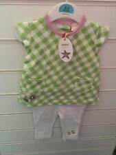 bebé niña Pretty Green cuadros camiseta y blanco Leggings NUEVO CON ETIQUETAS
