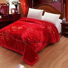 3.5kg Double Layers Bed Cover Velvet Blanket Raschel Blankets 2 PLY Rose Flower