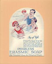 original 1925 mounted colourful advert for peerless erasmic soap