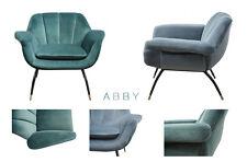 ABBY, Samt Sessel Retro, Cocktailsessel grün, grau-blau Samtbezug, Loungesessel