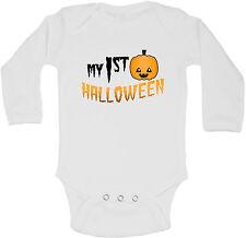 Il mio primo Halloween PERSONALIZZATI MANICA LUNGA BABY Gilet BODYSUITS UNISEX BIANCO