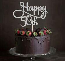 HAPPY 50TH BIRTHDAY 50 GLITTER CAKE TOPPER MILESTONE FIFTY