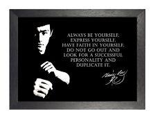 Bruce Lee ser tú mismo Negro Blanco motivación inspiración cita cartel firma