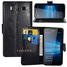 BLACK WALLET CARD SLOT stand GEL CASE FOR Microsoft Nokia lumia 950 UK seller