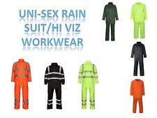 Da Uomo Donna Unisex Hi Viz con cappuccio Complessivo Tuta pioggia WATERPROOF PVC Work Wear