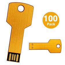 100 PCS USB Flash Drive 2GB Metal Key Thumb Pen Drives Storage U Disks Wholesale
