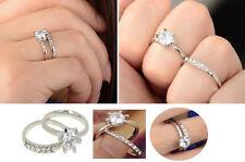 Donna Oro Bianco Crystal, Eternity / fidanzamento e nozze anello-Set due pezzi