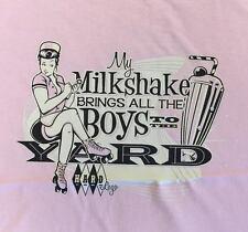 PLUS SIZE LADIES T-SHIRT - MILKSHAKE ! ROCKABILLY PIN-UP DERBY DINER