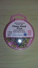 BNWT-Dobladillo-Extra Larga Glas cabeza Pins-aproximadamente 60 piezas