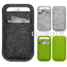 For Phone Universal Woolen Felt Wallet Purse Sleeve Pouch Bag Case w/ CardPocket