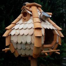 Großes Luxus Solar LED Licht Vogelhaus Holz Bunt Vogelfutterhaus Vogelhäuschen