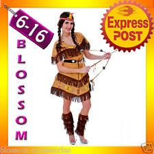 J87 Ladies Pocahontas Native American Indian Wild West Fancy Dress Party Costume
