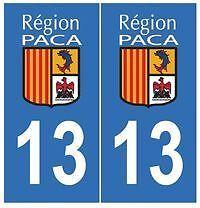 sticker autocollant plaque immatriculation auto Département Bouches du Rhône 13