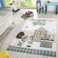 Kinder Teppich Moderner Spielteppich Teddy Welt Pastell Töne In Blau Creme