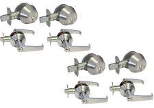 Multiple Sets of Entry Door Handicap Satin Nickel All Keyed Alike (1/2/3/4 sets)