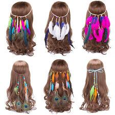 Mädchen Haarband Feder Kopfschmuck Haarreif Kopfband Pfau Indianer Stirnband Süß