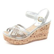B3902 sandalo donna CAR SHOE scarpa zeppa argento/marrone sandal shoe woman