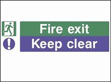 Fire Exit Keep Clear, prevenzione / PORTA segni, Adesivi / Adesivo, PVC RIGIDO