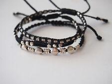 Sterling Silver Beaded knit chain bracelet