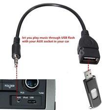3.5mm Male AUX Audio Plug to USB 2.0 A Female Jack OTG Converter USB Adapter BLK