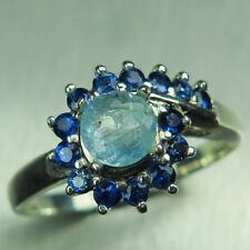0.55ct Natural blue Afghanite & sapphires 925 silver /14k 18k Gold Platinum ring
