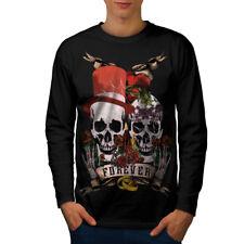 Amar Para Siempre Metal Calavera Hombre Manga Larga T-shirt new   wellcoda