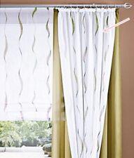 Gardine 2 Stück Kräuselband Weiss Grün Wellenstreifen Transparent Waschbar