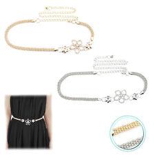 Womens Diamante Waist Chain Belt Silver Gold Adjustable Row for Girls Fashions