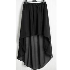 Black Chiffon Women Lady Asym Skirts Waist Maxi High Low Hem Asymmetric Dress