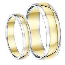 9 ct dos colores El Y Ella Alianza Bandas 4mm 6mm Sólido Dos Tonos Oro