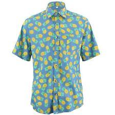 Hombre Chillón Camisa Ajuste a medida Piñas Amarillo Azul Retro Psicodélico