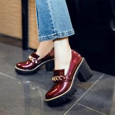 Women's Casual Block High Heels Platform Shoes Fashion Round Toe Pumps Party Sz