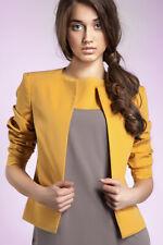 Veste ouverte femme moutarde courte blazer sans boutons casual ou chic NIFE