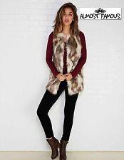 NWT Sz S & M  Almost Famous Beige/ Brown Animal Print Faux Fur Long Lined Vest!!