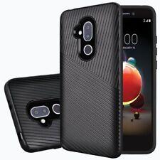 For Alcatel Revvl 2 Plus 2018 Textured Embossed Lines Tough Hybrid Phone Case