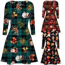 New Ladies Christmas Candy Stick Gift Bells Tartan Reindeer Flared Skater Dress
