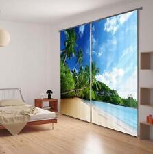 3D Sky Beach 903 Blockade Foto Vorhang Druckvorhang Vorhänge Stoff Fenster DE