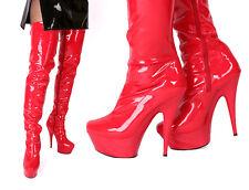 Plateau Overkneestiefel High Heels rot  neu Lackstiefel Damenstiefel Boots GoGo