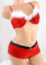 Christmas Lingerie Santa Red Velvet Feathered Sissy Bra & Cheeky Panties SET