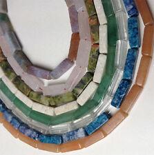 stone rectangle 4x13mm 16 inch strand :aventurine,agate,rose quartz,jasper..