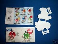M&M's 2 Plastic ROAD SIGN Sticker Figures PARIS #1 FRENCH Pocket Surprise M&M