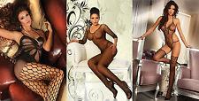 Sexy Nylon Catsuit Bodystocking Netz S-L Dessous String Ouvert schwarz Body